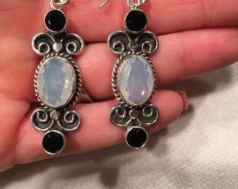 "July Special! Milky Opal and Black Spinel 925 Sterling Silver vintage Style 2.2"" Earring"