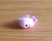 Pink Narwhal - Stitch Marker or Progress Keeper Charm