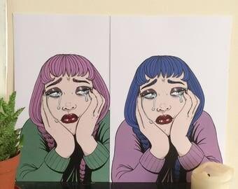 Sad Girl A4 Illustration Print / Blue & Pink