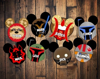 Custom Disney Cruise Mickey Magnets star wars theme Maul Amidala K2SO ewok Resistance pilot