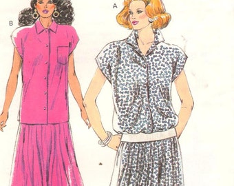 "Kwik Sew 1736, Sz 8-22/XS-XL/Bust 31.5-45"".   Cap Sleeve Blouse/Long Tunic Top and Flared Pullon Skirt, UNCUT Vintage 80s Misses pattern"