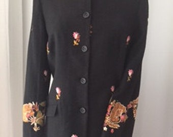 PATSY SEDDON Black Embroidered Fringed Jacket