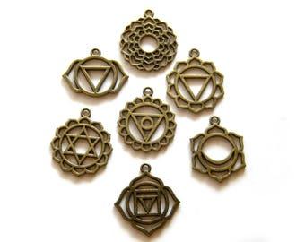 7 Large Bronze Chakra Charms Set