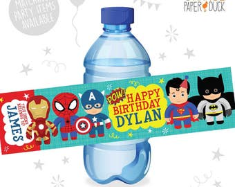 10 X Personalised SUPERHERO Birthday Party Water Bottle Label Stickers POW Batman Spiderman Superman Ironman Captain America