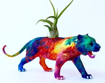 Original Colorful Abstract Tiger Planter - Upcycled Hand-painted Animal Figurine