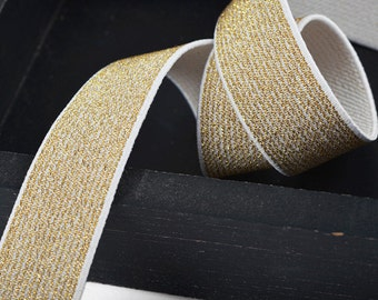 25mm Metallic GOLD Elastic Stretch Ribbon Trim, Elastic Band by 1-yard, Gold, Silver, TR-11201