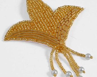 "Pearl Beaded Applique, Bridal Applique by 1 pc, 3-1/2""H x 3""W, Gold, FF-M2239"