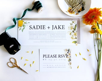 Yellow Floral Wedding Invitation Suite. Vintage Wedding Invitation. Spring Invitations. Garden wedding. Yellow and White. Outdoor Wedding.