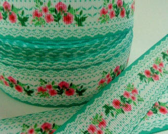 1'' -  25 mm Lace and Flowers Grosgrain Ribbon