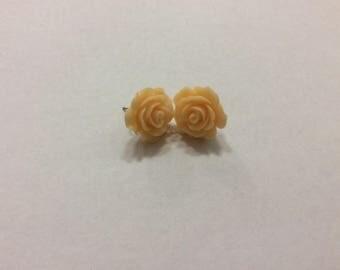 Peach Earrings, Peach Flower Stud Earrings, Peachy Colored Studded Earrings and Studded Earrings