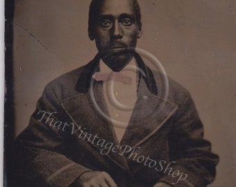 African American Tintype photograph of a Dapper Well Dressed  Man