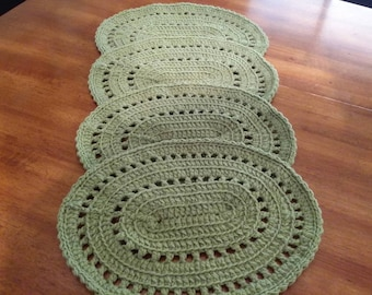 Oval crocheted placemats