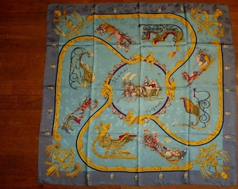 """HERMES Paris """"Feathers and bells"""" square scarf in silk, blue background"""