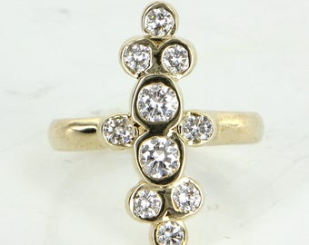 1ct Diamond Bubble Ring Vintage 14 Karat Yellow Gold Estate Fine Jewelry Pre Owned