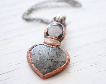 Small copper leaf necklace with faceted smoky crystal, smokey quartz statement pendant, stone and crystals jewelry, Gift for Crystal Lover