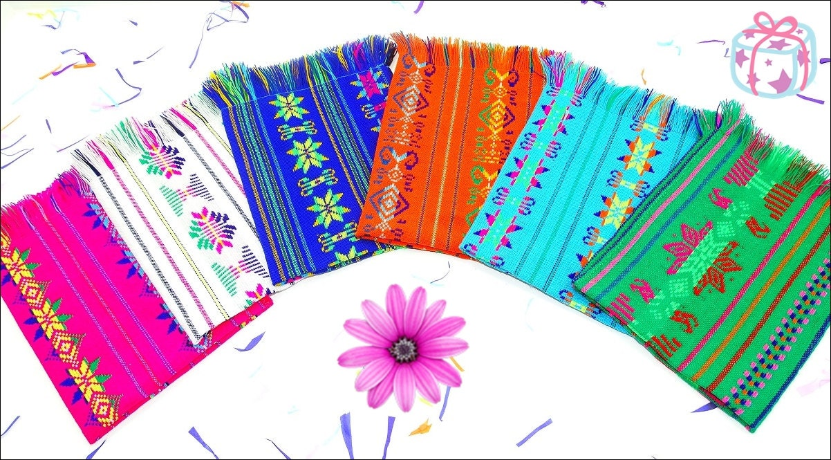 Mexican napkins bulk set of assorted colors fiesta decor