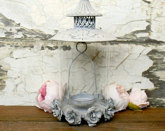 Lanterns, Metal and Glass Lantern, Decorative Lantern, Victorian Decor, French County Decor, Shabby Cottage Decor, Unique Lanterns