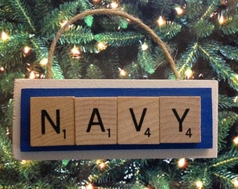 United States Navy Scrabble Tiles Ornament Handmade Holiday Christmas Wood