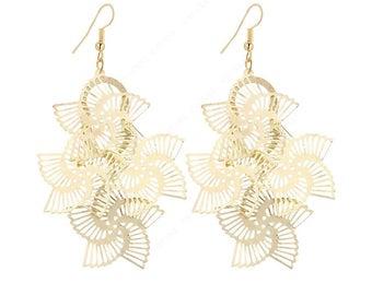 Gold and Silver Fan Chandelier Filigree Earrings