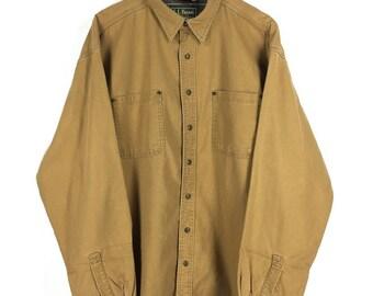 Vintage LL BEAN Jeans Barn Jacket Brown Xlarge 80's Ll Bean Workwear Chore Jacket Coat Ll Bean Hunting Jacket Union Made Size Xl