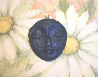 "Polymer Clay One of a kind Face Pendant,Charm,29mm tall by 1"" wide,handmade supply,dark blue pearl,focal bead,earring,SILVER TONE eyelet"