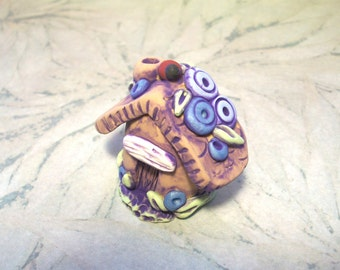 "Gnome Home,Fairy Fortress,Lady bug,Ladybug,Flowers,Polymer Clay Miniature House,1.25"",Blue,Purple,Cupcake Cake Topper,Plant Poke,Hut,Figure"