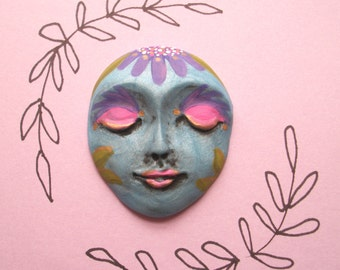 "PURPLE DAISY - Polymer Clay Face CABOCHON,One of a Kind,Ooak,1.75"" by 1.5"",flower,flowers,large focal,blue pearl,bead,flat back,purple,gold"