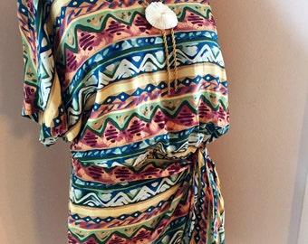 Vintage Southwestern Silk Faux Wrap Dress