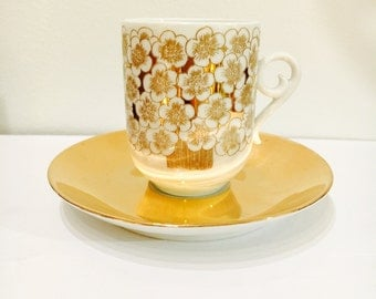 "Highly collectible-Vintage Arabia Finland gilded mocha coffee cup set named ""Mira""- Designed by Esteri Tomula-Made in Finland"