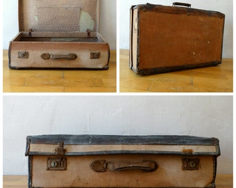 Antique Suitcase, Old Travel Luggage, Train Case, Leather Valise, Old Suitcase, Luggage Decor, Antique Luggage, Antique Valise, Travel Trunk
