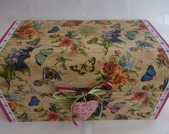 Butterfly design decoupage and ribbon wooden treasure chest box, to store all those treasured items.