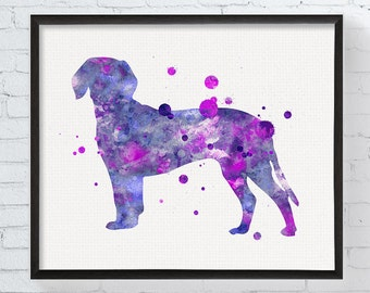 Watercolor Deutsche Bracke Print, Deutsche Bracke Art, Deutsche Bracke Painting, Watercolor Dog Art, Dog Print, Dog Breed, Dog Decor, Framed