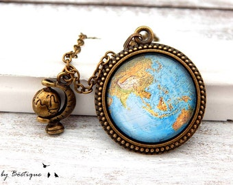Necklace - Map - Bronze / 25mm