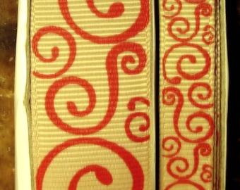 "2 Yards 3/8"" or 7/8"" US Designer Tan - Beige w/Red Scroll - Swirl Print Grosgrain Ribbon"
