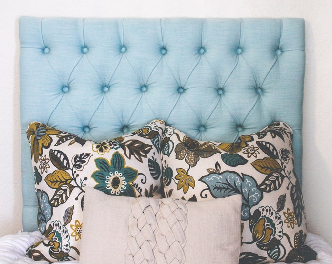 Tufted Upholstered Headboard, Linen Fabric, Queen, Full, and Twin sized, wall mounted