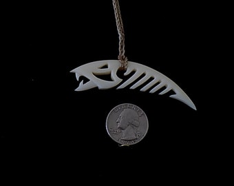 Hand made bone fish necklace