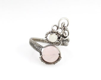 Rose Quartz Adjustable Ring, Sterling Silver, Wire Wrapped Jewelry with Moonstone