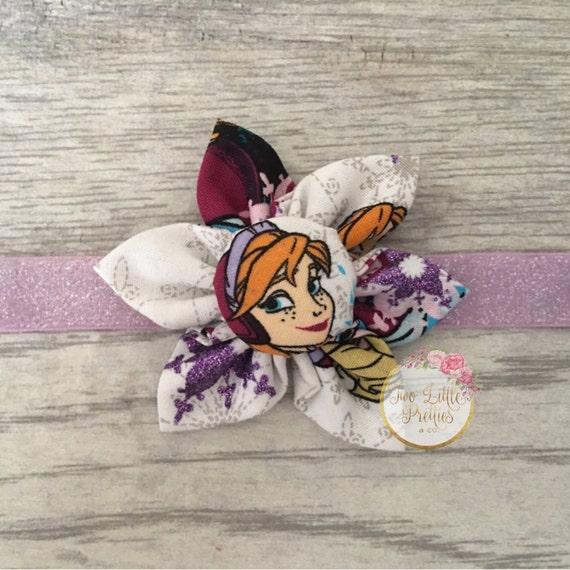 Large FROZEN fabric flower headband | baby girl | hand sewn