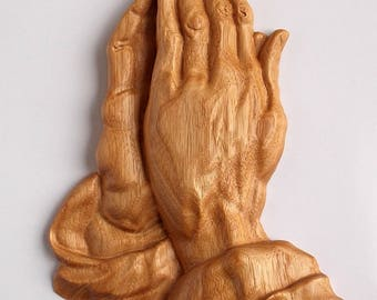 Praying Hands - Religious Wall Hanging - Wood Carved Praying Hands Wall Plaque - Catholic Home Decor - Praying hands Plaque, Wood Art Decor