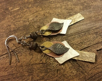 Mixed Metal Earrings, Metal Drop Earrings, Metal Dangle Earrings, Boho Earrings, Handmade Earrings