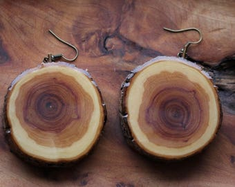 jumbo earrings / wooden earrings / wooden jewelry / bohemian fashion / hippie / festival fashion / earrings / handmade earrings / wood wear