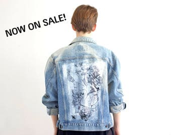 Hand Paint Denim Jacket, Custom Denim Jacket, Vintage Denim Jacket, Bleched Swans Paint Jean Jacket, Upcycle Denim Jacket Size Large