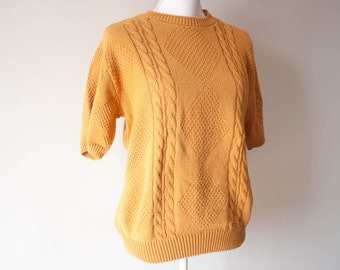 Vintage Womens Alfred Dunner Sweater / Vintage Sweater / Mustard Yellow / 80s Sweater / Short Sleeve Sweater / Mustard Sweater