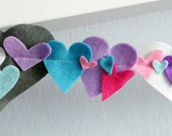 Felt Heart Garland I, Party Supply, DIY Wedding, Craft Decor, birthday party decoration, felt garland
