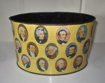 "Vintage Oval Metal ""Presidents"" Litho Desk Caddy Organizer - JAPAN"