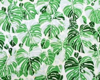 Fabric, Tropical Monstera Jungle in Green, Summer Punch on White, Hoffman California, By The Yard