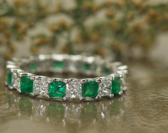 "Princess Cut Diamond and Emerald Eternity Band in 14k White Gold, 3ctw of Princess Cut Stones, Shared Prong ""U"" Setting, Cassandra E"