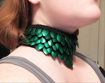 Scale Maille Choker, Custom Made To You. Dragon Scale Choker. Elongated. Scale necklace.