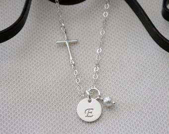 First Communion Gift, First Communion Necklace, Cross Initial Necklace, Sterling Silver Cross Initial Necklace, Sideways Cross Necklace