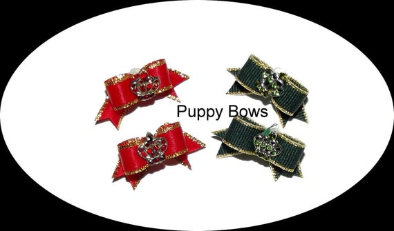 Puppy Bows ~ Dog show bow  pet hair MALTESE TINY pairs red or green rhinestone crown ~USA seller